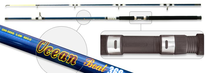 Спиннинг штек. ст/пласт. 2 колена Surf Master 1383 Ocean (200-500) 3,6 м от Ravta