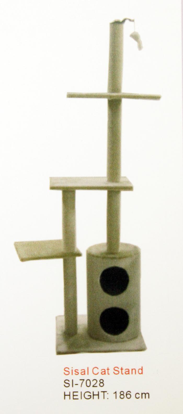 Когтеточка-дом цилиндр.+2 полки+гамак, 168 см от Ravta