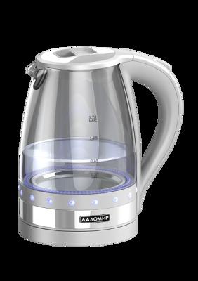 Чайник ЛАДОМИР мод. 115  арт.9 серый со стразами, 2кВт, 1,7лЧайники<br><br><br>Артикул: 2455<br>Бренд: ЛАДОМИР<br>Материал: стекло<br>Потребляемая мощность (Вт): 2000<br>Подсветка: да<br>Блокировка включения без воды: есть<br>Нагревательный элемент: скрытый<br>Гарантия производителя: да<br>Общий объем (л): 1,7<br>Цвет: белый<br>Указатель уровня воды: да<br>Индикация включения : есть<br>Автоотключение при закипании: есть<br>Вращение на 360 градусов: есть