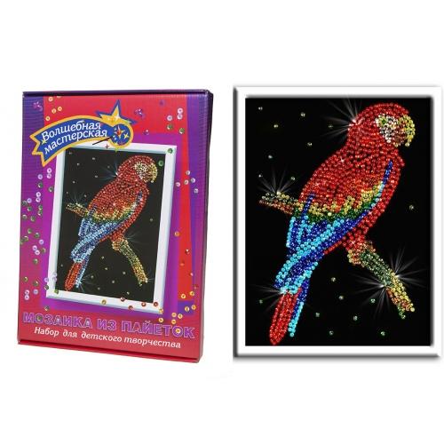Мозаика из пайеток ВОЛШЕБНАЯ МАСТЕРСКАЯ 027 Попугай какаду: цена, описание, отзывы